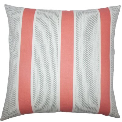 Velten Striped Cotton Throw Pillow Size: 18 x 18, Color: Coral