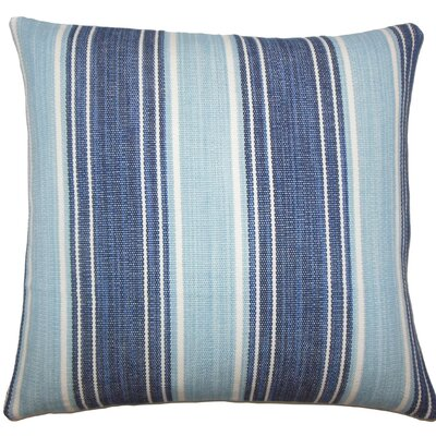 Ferlin Striped Cotton Throw Pillow Size: 18 H x 18 W x 5 D, Color: Chambray