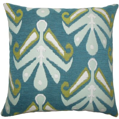 Berke Ikat Throw Pillow Size: 18 H x 18 W x 5 D, Color: Aqua Green