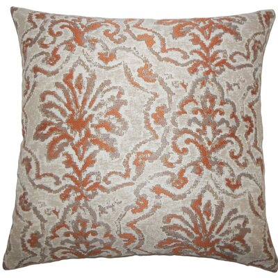 Zain Damask Throw Pillow Size: 22 x 22, Color: Melon