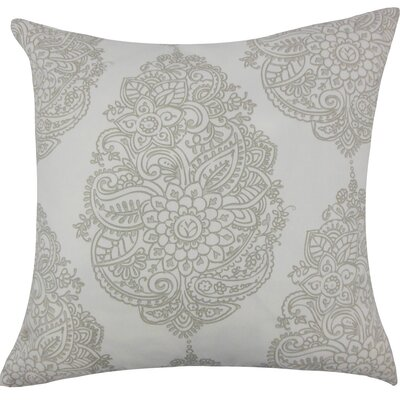 Lanza Damask Cotton Throw Pillow Size: 18 H x 18 W x 5 D, Color: Grey