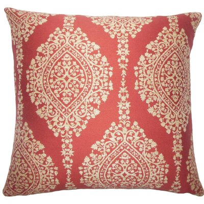 Zanthe Damask Throw Pillow Size: 18 H x 18 W x 5 D, Color: Cayenne