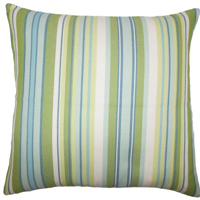 Urbaine Striped Burlap Throw Pillow Size: 18 x 18, Color: Blue Green