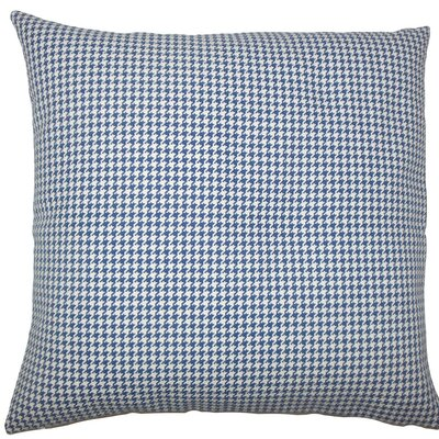 Occhave Houndstooth Cotton Throw Pillow Size: 20 H x 20 W x 5 D, Color: Blue