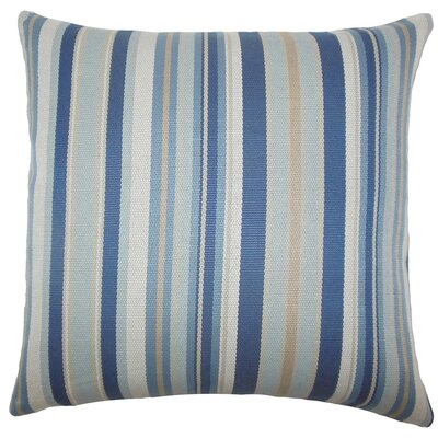 Urbaine Striped Burlap Throw Pillow Color: Blue Brown, Size: 24 x 24