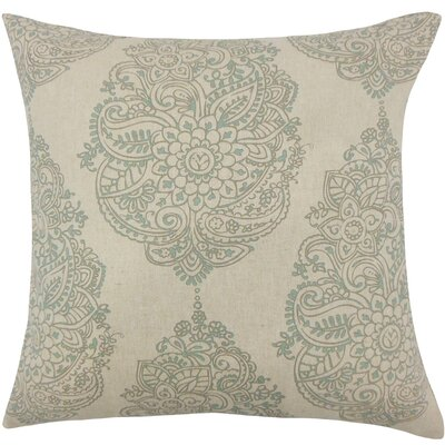 Lanza Damask Cotton Throw Pillow Size: 18 H x 18 W x 5 D, Color: Blue Laken
