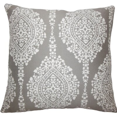 Zanthe Damask Throw Pillow Size: 18 H x 18 W x 5 D, Color: Stone