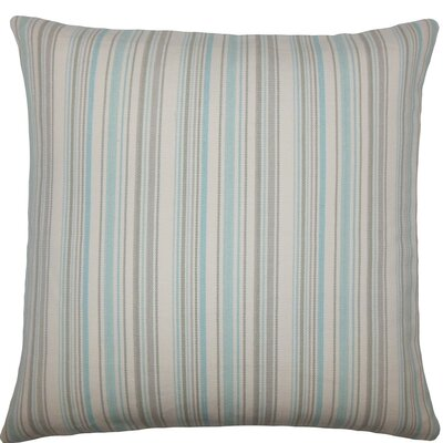 Velika Striped Cotton Throw Pillow Size: 18 H x 18 W x 5 D, Color: Seaglass