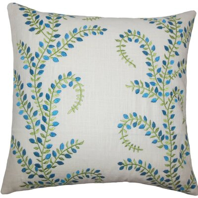 Wauna Floral Throw Pillow Color: Aqua Green, Size: 20 H x 20 W x 5 D