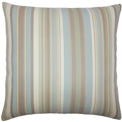 Urbaine Striped Burlap Throw Pillow Size: 18 x 18, Color: Natural Blue