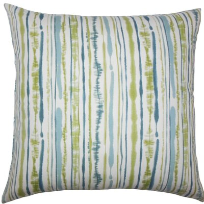 Jumoke Striped Cotton Throw Pillow Color: Aqua Green, Size: 24 x 24