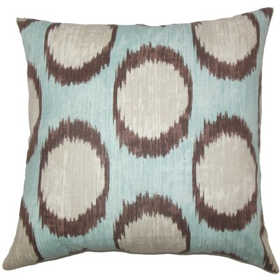 Ridha Ikat Cotton Throw Pillow Size: 24 x 24, Color: Turquoise