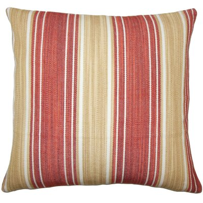 Ferlin Striped Cotton Throw Pillow Size: 18 H x 18 W x 5 D, Color: Cayenne