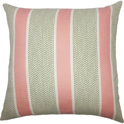 Velten Striped Cotton Throw Pillow Size: 24 x 24, Color: Pink Green