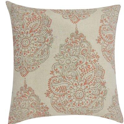 Lanza Damask Cotton Throw Pillow Size: 18 H x 18 W x 5 D, Color: Orange