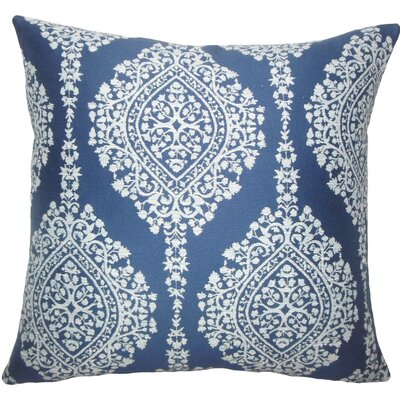 Zanthe Damask Throw Pillow Size: 18 H x 18 W x 5 D, Color: Lapis