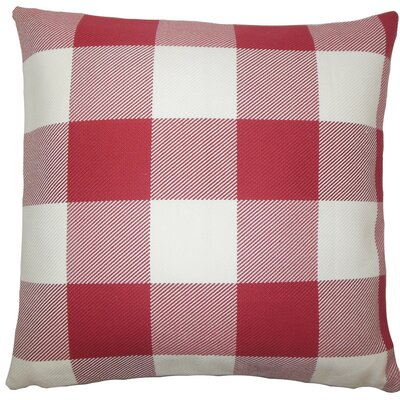 Inali Plaid Cotton Throw Pillow Size: 18 H x 18 W x 5 D, Color: Chili