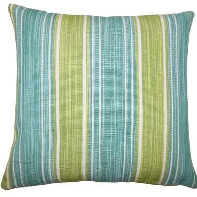 Ferlin Striped Cotton Throw Pillow Size: 18 H x 18 W x 5 D, Color: Aqua Green