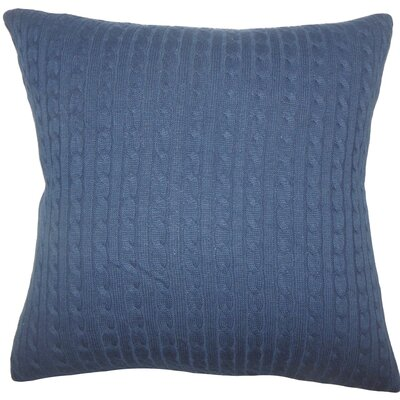 Ochekka Knit Cotton Throw Pillow Color: Navy, Size: 22 x 22