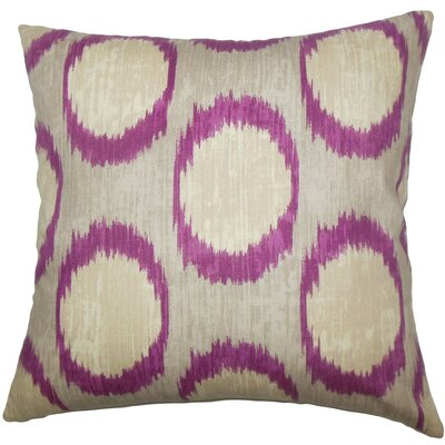 Ridha Ikat Cotton Throw Pillow Size: 18 x 18, Color: Currant