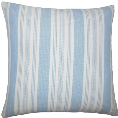 Reiki Striped Cotton Throw Pillow Size: 18 H x 18 W x 5 D, Color: Chambray