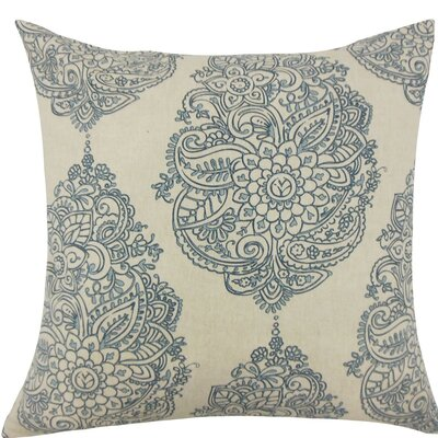 Lanza Damask Cotton Throw Pillow Size: 18 H x 18 W x 5 D, Color: Blue