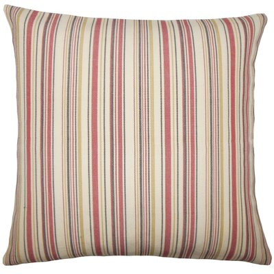 Velika Striped Cotton Throw Pillow Size: 18 H x 18 W x 5 D, Color: Red