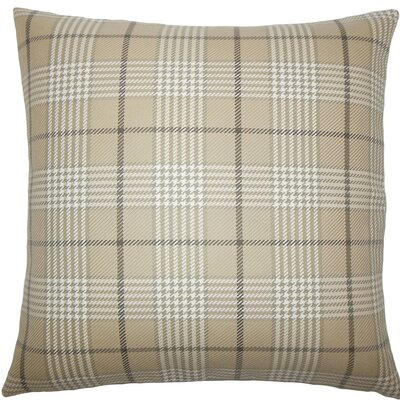 Landen Houndstooth Cotton Throw Pillow Size: 18 H x 18 W x 5 D, Color: Mushroom