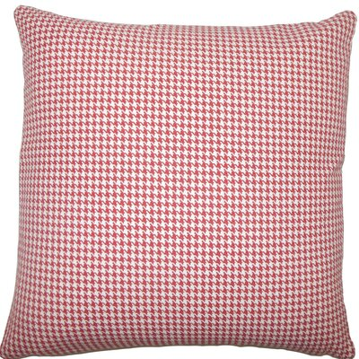 Occhave Houndstooth Cotton Throw Pillow Size: 20 H x 20 W x 5 D, Color: Red