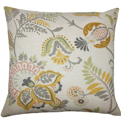Ikuyo Floral Throw Pillow Size: 18 H x 18 W x 5 D, Color: Greystone