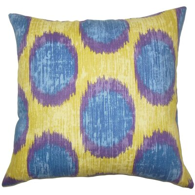 Ridha Ikat Cotton Throw Pillow Size: 18 x 18, Color: Purple Sage