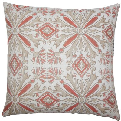 Esadowa Damask Throw Pillow Size: 18 H x 18 W x 5 D, Color: Coral