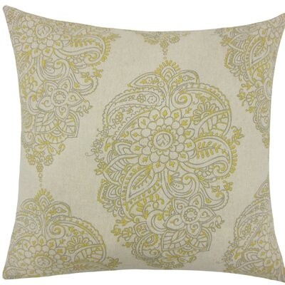 Lanza Damask Cotton Throw Pillow Size: 18 H x 18 W x 5 D, Color: Yellow