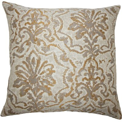 Zain Damask Throw Pillow Color: Camel, Size: 24 x 24