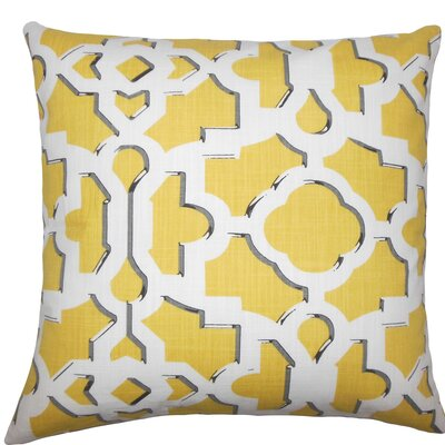 Calixte Geometric Cotton Throw Pillow Size: 18 H x 18 W x 5 D, Color: Sunflower