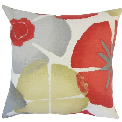Samiya Floral Coral Cotton Throw Pillow Size: 18 H x 18 W x 5 D