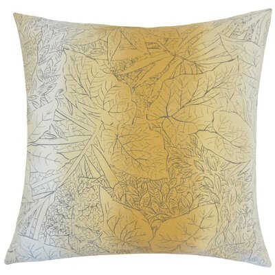 Tamasine Floral Cotton Throw Pillow Size: 18 H x 18 W x 5 D, Color: Amber