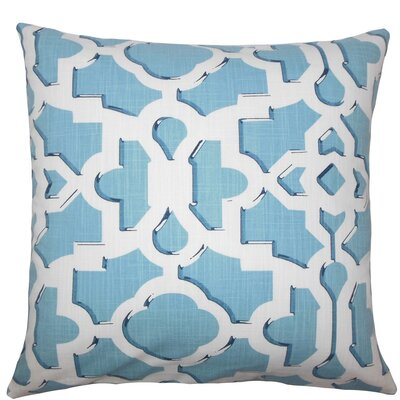Calixte Geometric Cotton Throw Pillow Size: 18 H x 18 W x 5 D, Color: Sky