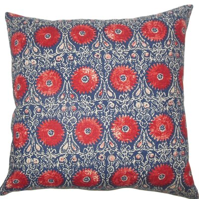 Xaria Floral Throw Pillow Size: 24 x 24, Color: Red Blue