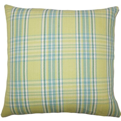 Mahlah Plaid Cotton Throw Pillow Size: 18 H x 18 W x 5 D, Color: Spring Green