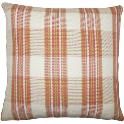 Mahlah Plaid Cotton Throw Pillow Size: 20 H x 20 W x 5 D, Color: Rose Green