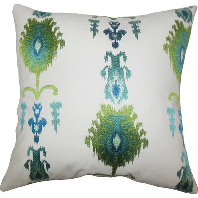 Calico Ikat Throw Pillow Size: 18 x 18, Color: Blue Green