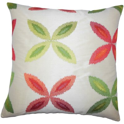 Syshe Ikat Throw Pillow Size: 18 x 18, Color: Red Green