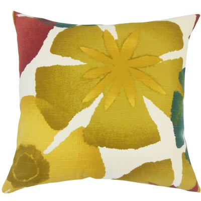 Samiya Floral Pomegrenate Cotton Throw Pillow Size: 18 H x 18 W x 5 D