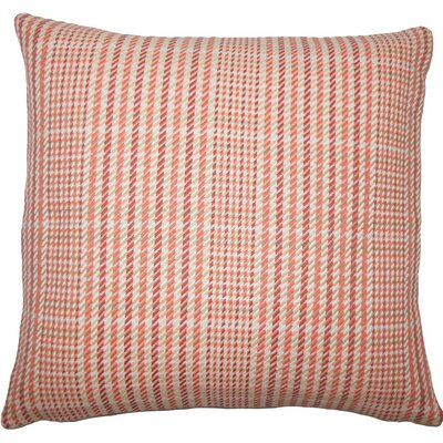 Kalle Houndstooth Cotton Throw Pillow Size: 18 H x 18 W x 5 D, Color: Melon
