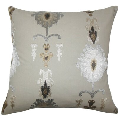 Calico Ikat Throw Pillow Color: Mushroom, Size: 24 x 24