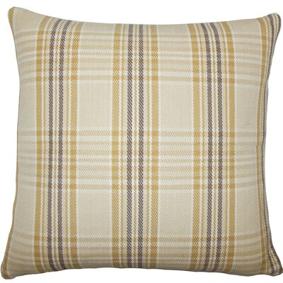 Mahlah Plaid Cotton Throw Pillow Size: 18 H x 18 W x 5 D, Color: Natural Gold