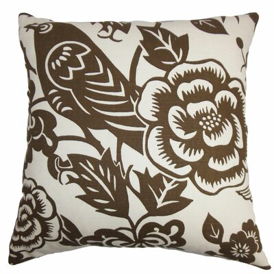 Brownlow Floral Floor Pillow Color: Brown/White