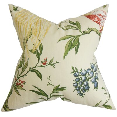Jennifer Floral Floor Pillow Color: White Green