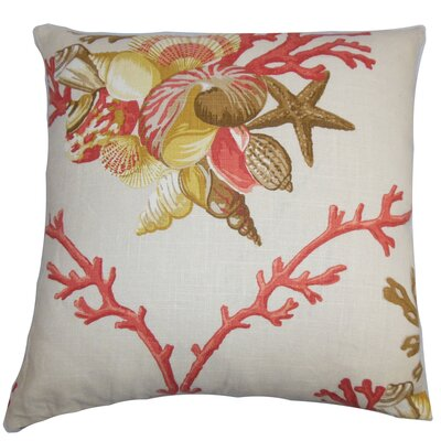 Ramsgate Coastal Floor Pillow Color: Coral